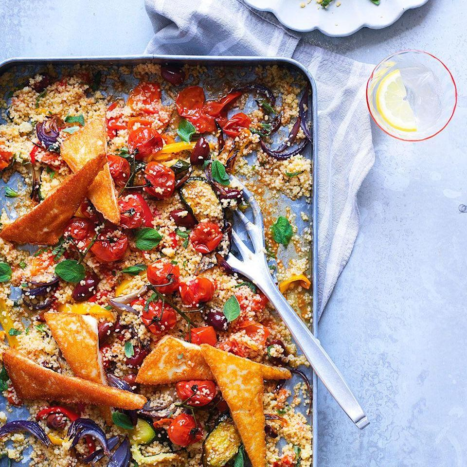 """<p>We've turned Greek salad on its head! Pan-fried Saganaki cheese adds wonderful texture and moreish flavour – if you can't get hold of it, use halloumi instead.</p><p><strong>Recipe: <a href=""""https://www.goodhousekeeping.com/uk/food/recipes/a570620/baked-greek-salad/"""" rel=""""nofollow noopener"""" target=""""_blank"""" data-ylk=""""slk:Baked Greek Salad"""" class=""""link rapid-noclick-resp"""">Baked Greek Salad</a></strong></p>"""