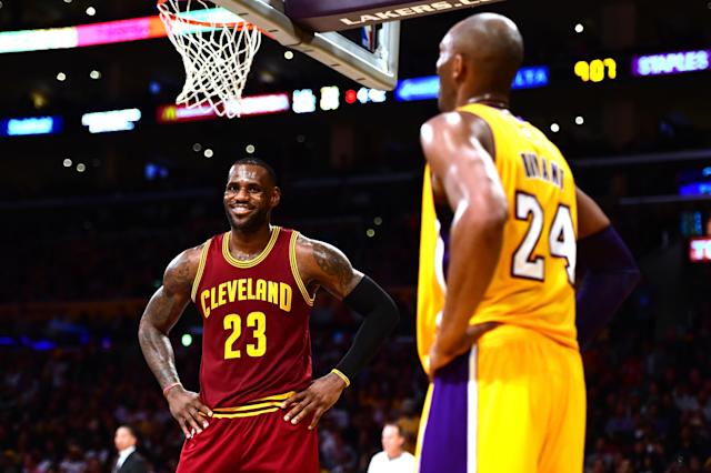 "Kobe Bryant decided to weigh in on the <a class=""link rapid-noclick-resp"" href=""/ncaaf/players/263612/"" data-ylk=""slk:Michael Jordan"">Michael Jordan</a> vs. <a class=""link rapid-noclick-resp"" href=""/nba/players/3704/"" data-ylk=""slk:LeBron James"">LeBron James</a> debate after James reached his eighth-straight NBA Finals on Sunday night. (Getty Images)"