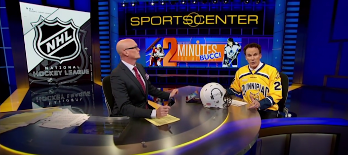 Scott Van Pelt (L) and John Buccigross on SportsCenter in 2016.