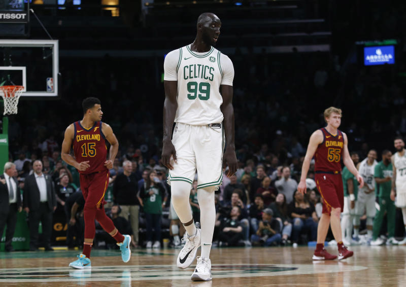 Oct 13, 2019; Boston, MA, USA; Seven-foot five-inch Boston Celtics center Tacko Fall (99) goes back up court during the second half of a preseason game against the Cleveland Cavaliers at TD Garden. Mandatory Credit: Winslow Townson-USA TODAY Sports