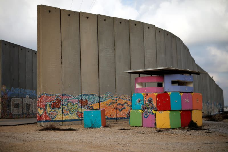 An Israeli army post is seen next to a concrete wall inside the Israeli farming community of Netiv Haasara, just outside Gaza Strip by the Israeli side of the Israel Gaza border