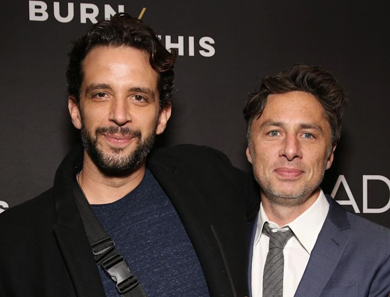 """Nick Cordero and Zach Braff at the Broadway production of """"Burn This"""" on April 15, 2019. (Photo: Walter McBride via Getty Images)"""
