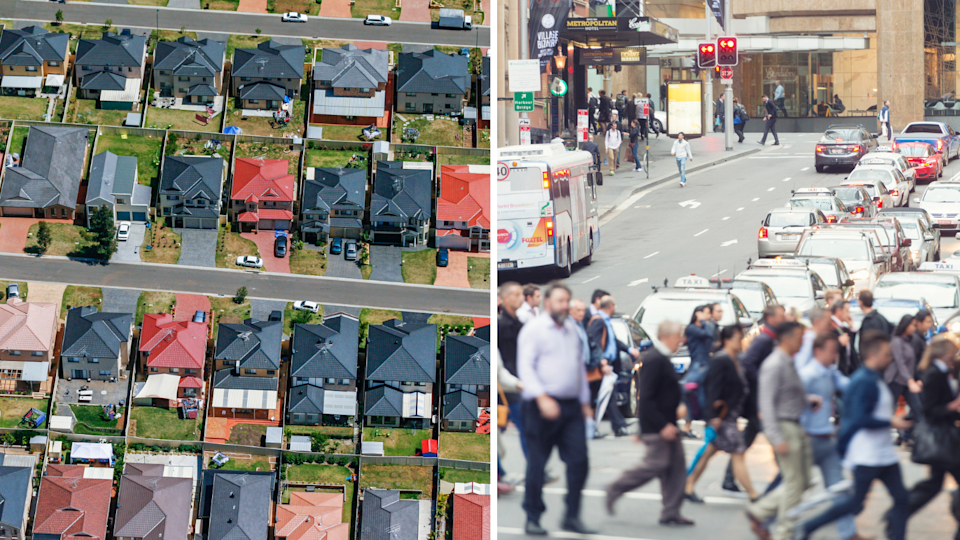Aerial view of Australian houses, pedestrians cross the road in Sydney.