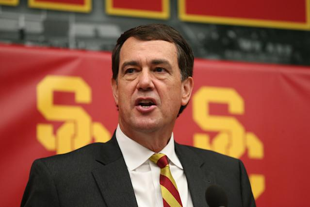 Mike Bohn speaks during a press conference announcing his selection as USC athletic director on Nov. 7. (Jevone Moore/Getty Images)