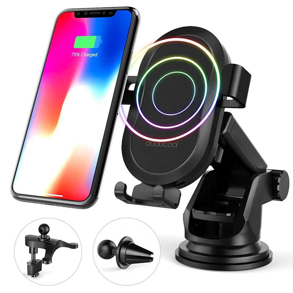 """<p>Not only can you easily see your phone, but this <a href=""""https://www.popsugar.com/buy/Dodocool-Fast-Charge-Wireless-Car-Charger-452677?p_name=Dodocool%20Fast%20Charge%20Wireless%20Car%20Charger&retailer=walmart.com&pid=452677&price=20&evar1=savvy%3Aus&evar9=46284382&evar98=https%3A%2F%2Fwww.popsugar.com%2Fsmart-living%2Fphoto-gallery%2F46284382%2Fimage%2F46284402%2FDodocool-Fast-Charge-Wireless-Car-Charger&list1=shopping%2Cwalmart%2Cunder%20%2450&prop13=mobile&pdata=1"""" rel=""""nofollow"""" data-shoppable-link=""""1"""" target=""""_blank"""" class=""""ga-track"""" data-ga-category=""""Related"""" data-ga-label=""""https://www.walmart.com/ip/dodocool-10W-Fast-Charge-Wireless-Car-Charger-Phone-Holder-with-2-Air-Vent-Mounts-Dashboard-Windshield-Suction-Mount-1m-Micro-USB-Cable/446583799"""" data-ga-action=""""In-Line Links"""">Dodocool Fast Charge Wireless Car Charger</a> ($20) also powers your device up.</p>"""