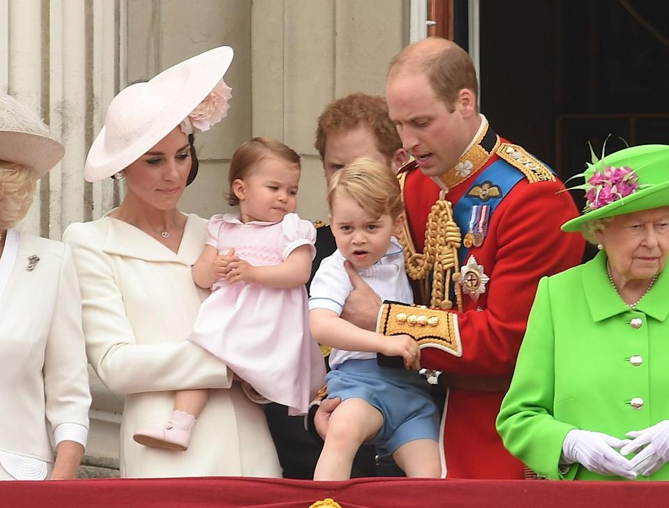 <p>During the Trooping the Colour ceremony in honour of Queen Elizabeth II's 90th birthday, Prince George wore a pair of pale blue shorts. [Photo: Getty] </p>