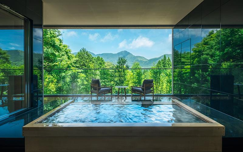 Art and hot spring baths get joint billing at KAI Sengokuhara, a contemporary Japanese ryokan set to open in the shadow of Mount Fuji at the end of July. - akifumi yamabe