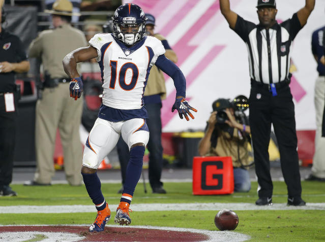 Denver Broncos wide receiver Emmanuel Sanders reportedly suffered a torn Achilles in practice on Wednesday. (AP)