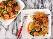 """<p>Master a classic stir-fry with this shrimp, soy, and ginger version.</p><p>Get the recipe from <a href=""""https://www.delish.com/cooking/recipes/a42727/shrimp-stir-fry/"""" rel=""""nofollow noopener"""" target=""""_blank"""" data-ylk=""""slk:Delish"""" class=""""link rapid-noclick-resp"""">Delish</a>.<br></p>"""