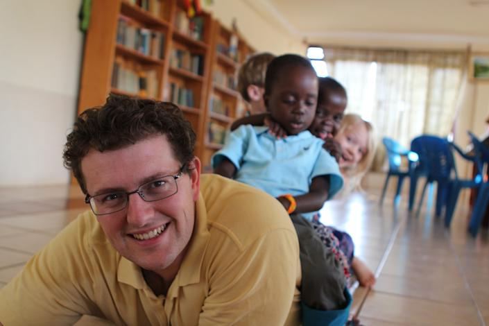 Shannon Dingle's husband Lee, pictured in Uganda with his children, died suddenly over the summer. Now the family is processing their grief. (Photo: Courtesy of Shannon Dingle)
