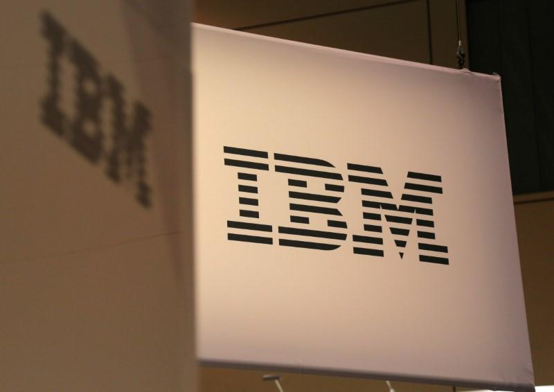 The logo for IBM is seen at the SIBOS banking and financial conference in Toronto