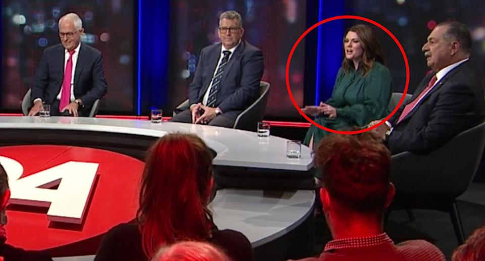 Senator Sarah Hanson-Young seen on the Q&A panel with other guests.