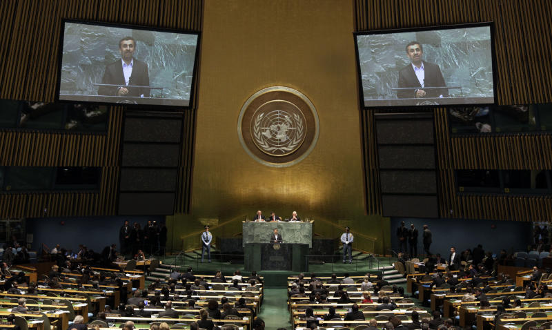 Iran's President Mahmoud Ahmadinejad addresses the high level meeting on rule of law in the United Nations General Assembly at U.N. headquarters Monday, Sept. 24, 2012. (AP Photo/Richard Drew)