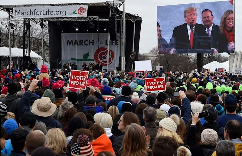 The 2019 March for Life rally in Washington, D.C.   OLIVIER DOULIERY/AFP via Getty Images