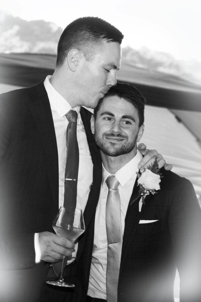 Stephen Heasley, left, and Andrew Borg at their September wedding. (Photo: Courtesy of Heasley and Borg)