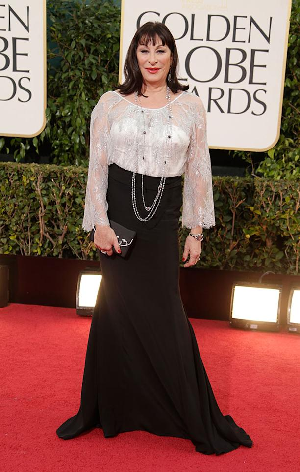 Anjelica Huston arrives at the 70th Annual Golden Globe Awards at the Beverly Hilton in Beverly Hills, CA on January 13, 2013.