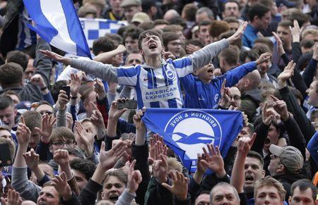 Brighton fans celebrate on the pitch after the game