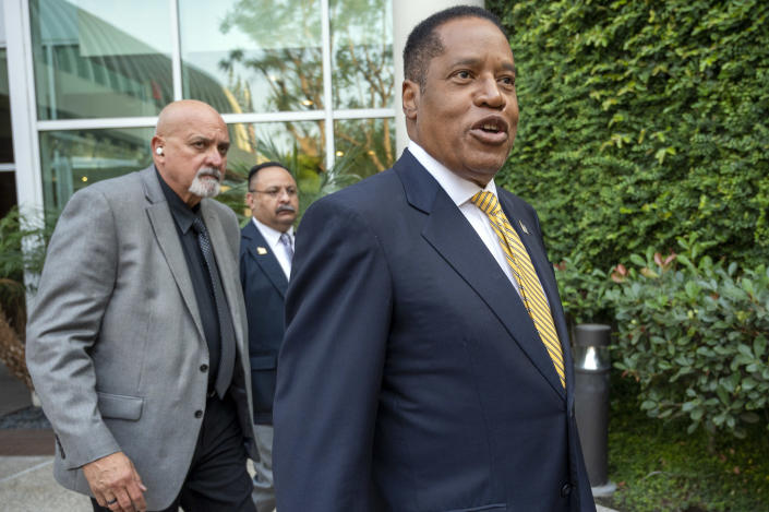 California governor recall candidate Larry Elder meets supporters outside of the Warner Center Marriott Woodland Hills in Woodland Hills CA., Tuesday, August 24, 2021. (Hans Gutknecht/MediaNews Group/Los Angeles Daily News via Getty Images)