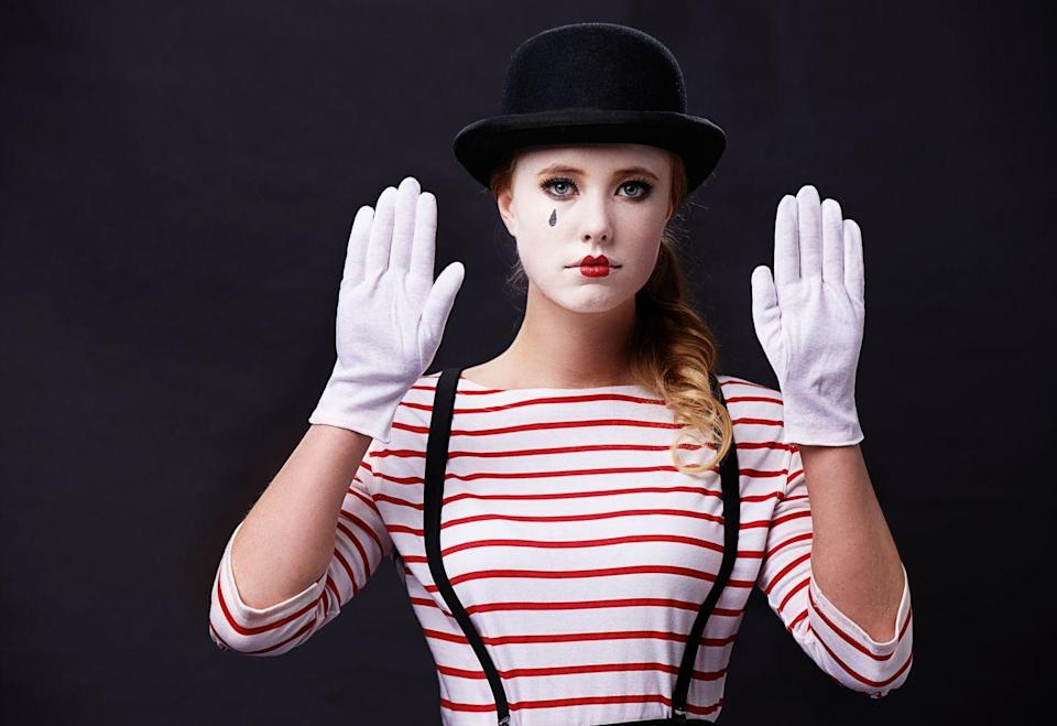 """<p>With the help of a bowler hat, suspenders, white gloves, a striped shirt, and some face paint, your DIY mime costume will speak for itself. </p><p><a class=""""link rapid-noclick-resp"""" href=""""https://www.amazon.com/Funny-Party-Hats-Dress-Adults/dp/B007I5V8K6?tag=syn-yahoo-20&ascsubtag=%5Bartid%7C10070.g.490%5Bsrc%7Cyahoo-us"""" rel=""""nofollow noopener"""" target=""""_blank"""" data-ylk=""""slk:SHOP BOWLER HATS"""">SHOP BOWLER HATS</a></p>"""