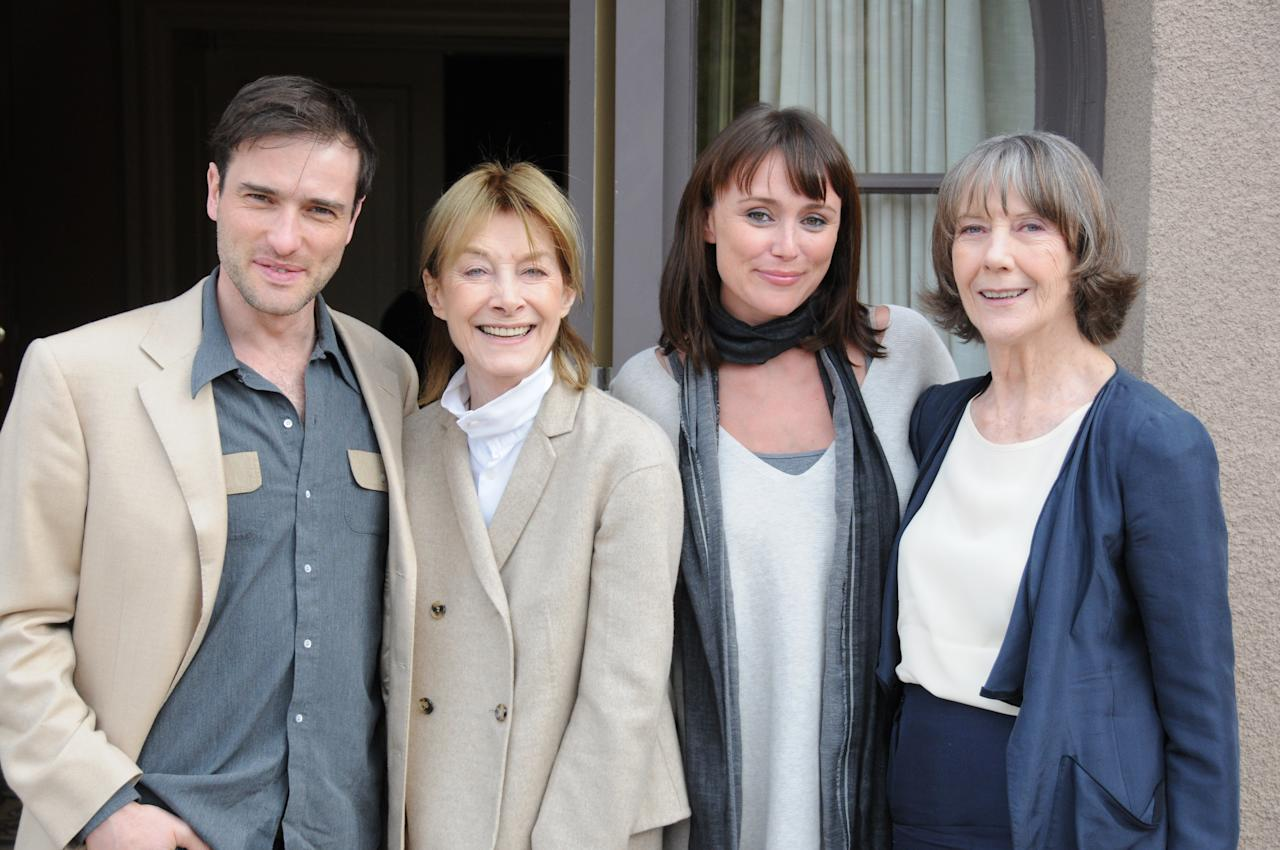 "In this publicity image released by PBS, from left, Ed Stoppard, Jean Marsh, Keeley Hawes and Eileen Atkins from ""Upstairs, Downstairs"" is shown."