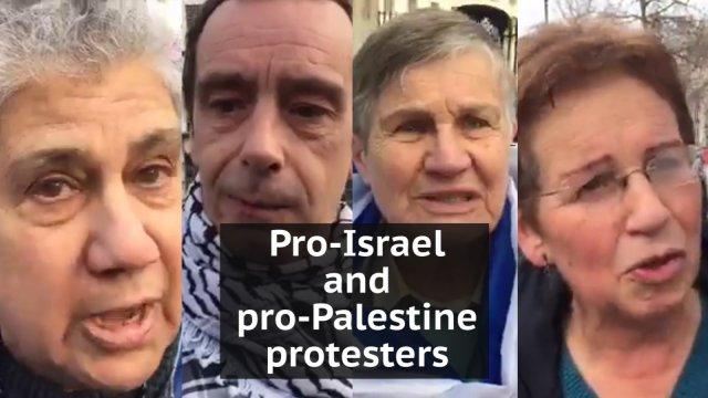 Pro-Israel and pro-Palestine protesters explain why they were demonstrating outside Downing Street