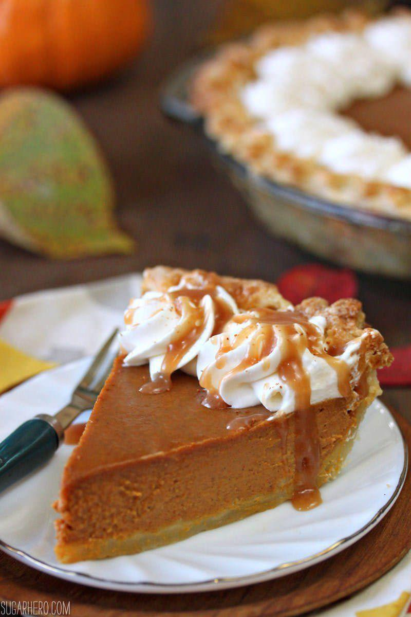 """<p>The subtle but sweet dulce de leche instantly upgrades this dessert. This take might just be your new favorite pumpkin pie recipe of all time.</p><p><strong>Get the recipe at <a href=""""https://www.sugarhero.com/best-dulce-de-leche-pumpkin-pie/"""" rel=""""nofollow noopener"""" target=""""_blank"""" data-ylk=""""slk:SugarHero!"""" class=""""link rapid-noclick-resp"""">SugarHero!</a></strong> </p>"""