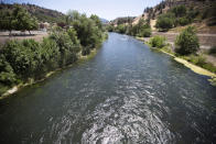 In this photo provided by the California Department of Fish and Wildlife, is the Klamath River just below Iron Gate Dam in Siskiyou County, Calif., on July 8, 2021. Baby salmon are dying in the thousands in one river and an entire run of endangered salmon could be wiped out in another as blistering heat waves and extended drought in the U.S. West raise water temperatures and imperil fish from Idaho to California. (Travis VanZant/CDFW via AP)