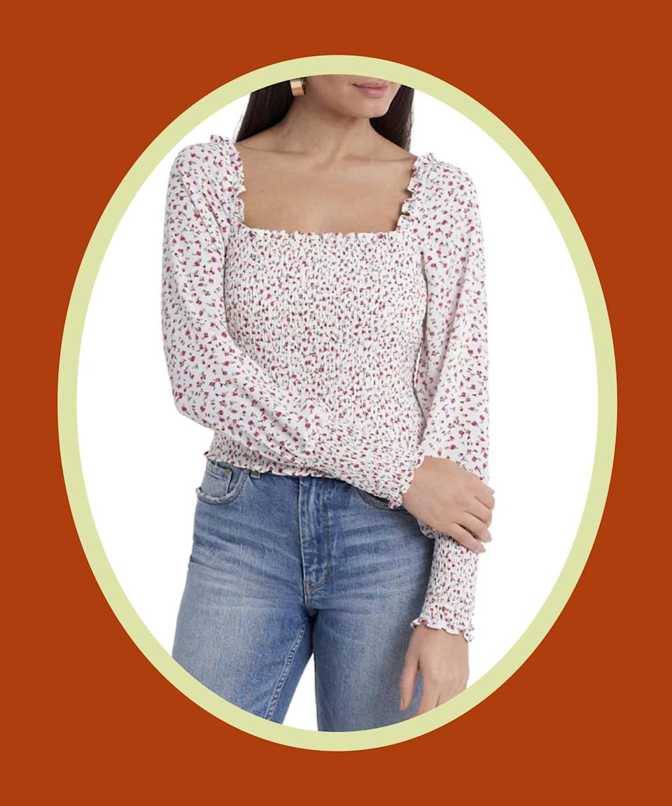 """<br><br><strong>1 STATE</strong> Smocked Square-Neck Blouse, $, available at <a href=""""https://go.skimresources.com/?id=30283X879131&url=https%3A%2F%2Fwww.macys.com%2Fshop%2Fproduct%2F1.state-smocked-square-neck-blouse%3FID%3D12076038%26lid%3Dcontemporaryplp_viewfullproduct"""" rel=""""nofollow noopener"""" target=""""_blank"""" data-ylk=""""slk:Macy's"""" class=""""link rapid-noclick-resp"""">Macy's</a>"""
