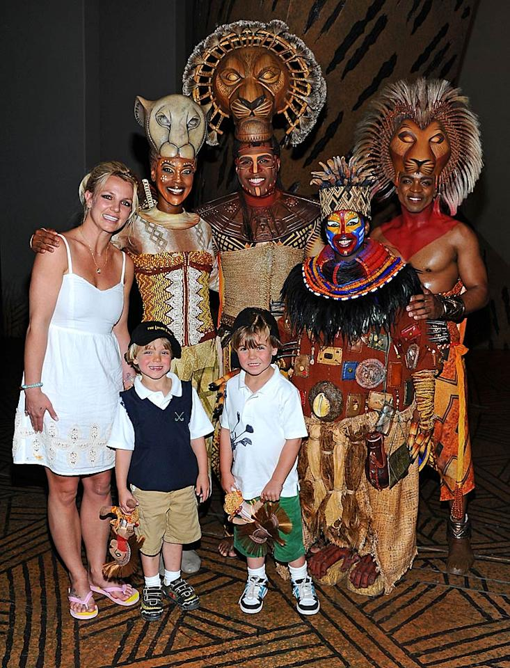"Pop princess Britney Spears took her sons Jayden James, 4, and Sean Preston, 5, to see ""The Lion King"" at Mandalay Bay in Las Vegas on Sunday, and after the show, her lucky boys got to meet some of the cast backstage. Cute! Angela Weiss/<a href=""http://www.gettyimages.com/"" target=""new"">GettyImages.com</a> - April 3, 2011"