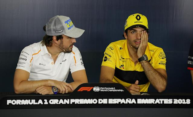 Formula One F1 - Spanish Grand Prix - Circuit de Barcelona-Catalunya, Barcelona, Spain - May 10, 2018 McLaren's Fernando Alonso and Renault's Carlos Sainz during a press conference ahead of the Spanish Grand Prix REUTERS/Albert Gea