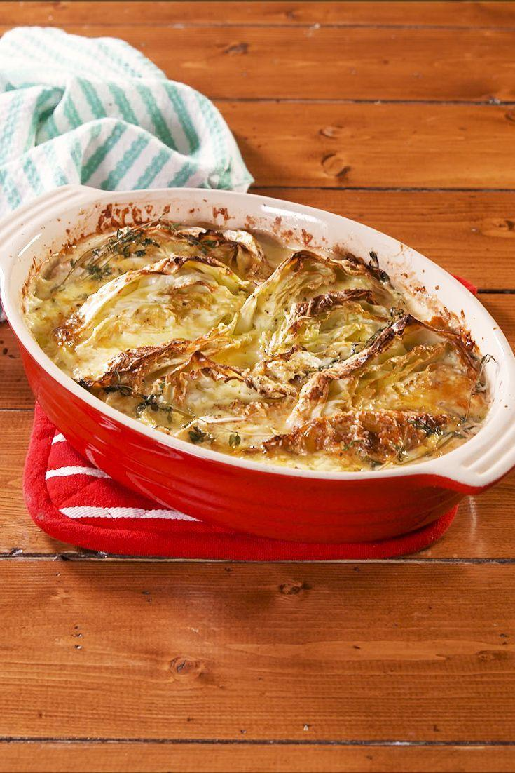 """<p>Few things are more comforting than tucking into a warm bowl of potatoes au gratin. This cabbage is every bit as comforting but keto-friendly. </p><p>Get the recipe from <a href=""""https://www.delish.com/cooking/nutrition/a30297303/cheesy-cabbage-gratin-recipe/"""" rel=""""nofollow noopener"""" target=""""_blank"""" data-ylk=""""slk:Delish"""" class=""""link rapid-noclick-resp"""">Delish</a>.</p>"""