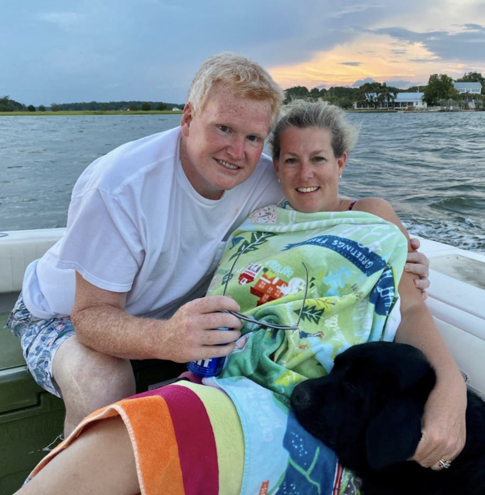 Mr and Mrs Murdaugh posing on a boat.