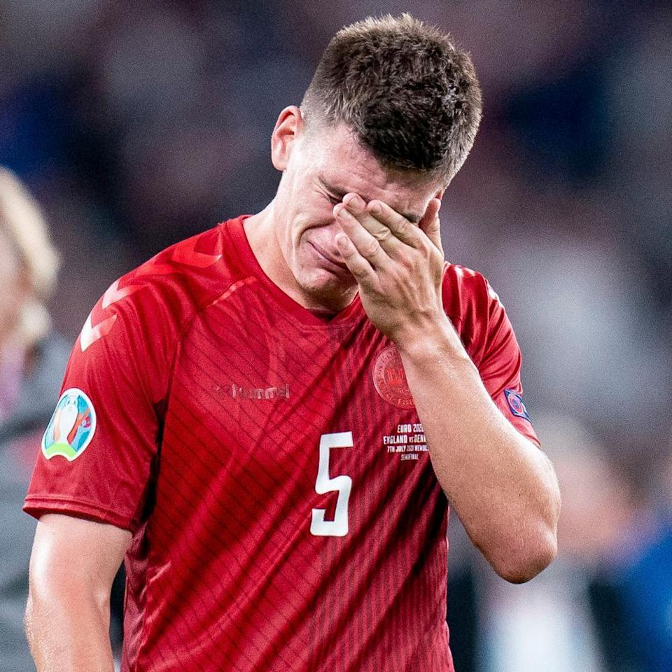 Joakim Mæhle reacts to the end of Denmark's run.