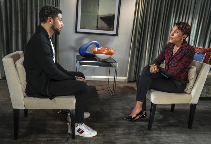"""Jussie Smollett talks with Robin Roberts for an interview that aired on ABC's '""""Good Morning America"""" on Feb. 14. (Photo: Stephen Green/ABC via Getty Images)"""