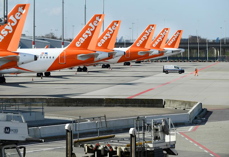 Easyjet airline airplanes are seen parked, as Schiphol Airport reduces its flights due to the coronavirus disease (COVID-19) outbreak, in Amsterdam, Netherlands April 2, 2020. REUTERS/Piroschka van de Wouw