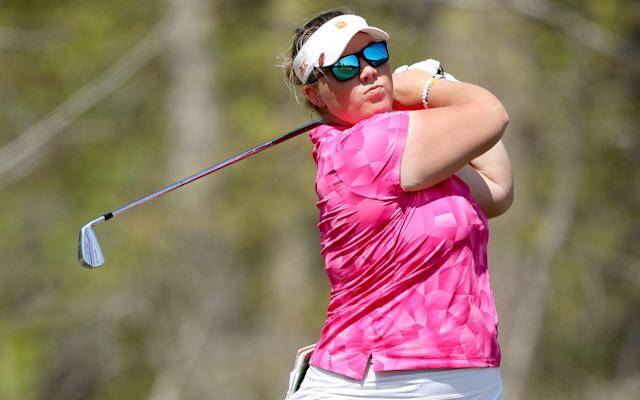 Alice Hewson of England plays her tee shot on the 17th hole during the first round of the inaugural Augusta National Women's Amateur at Champions Retreat Golf Club on April 03, 2019 in Evans, Georgia - Getty Images