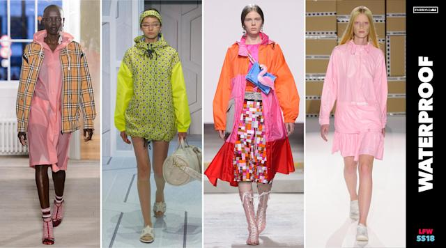 <p><i>Waterproof raingear was all the rage during LFW this season. They were shown in vibrant shades of neon to combat London's famously dreary weather. (Photo: ImaxTree, Art: Quinn Lemmers for Yahoo Lifestyle) </i></p>