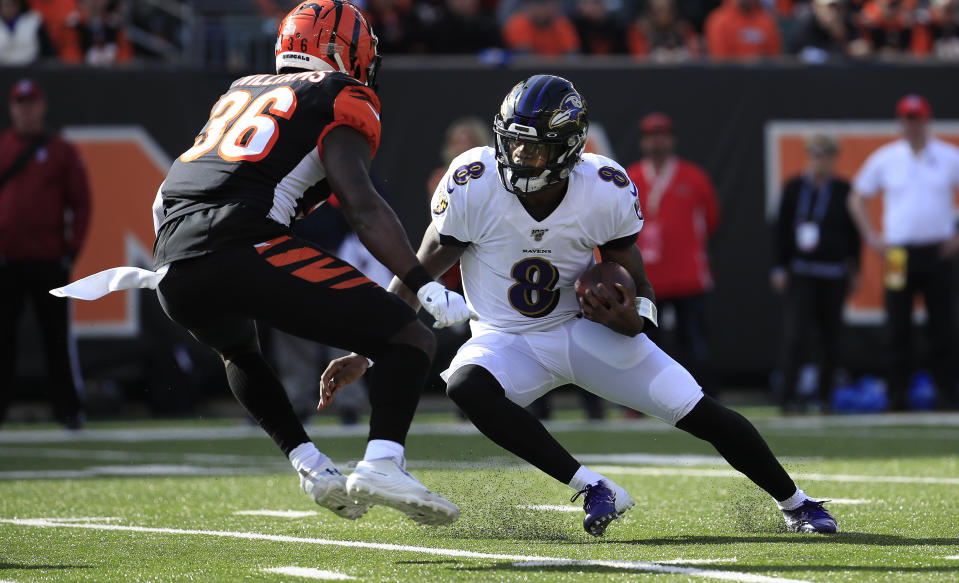 Lamar Jackson made another statement in the MVP race Sunday. (Getty Images)