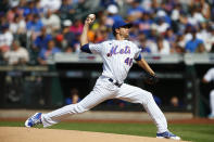 New York Mets starting pitcher Jacob deGrom throws against the Philadelphia Phillies during a baseball game Saturday, June 26, 2021, in New York. (AP Photo/Noah K. Murray)