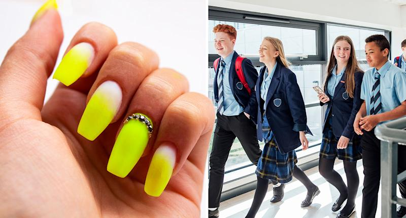 A school has banned students from wearing false nails due to health and safety concerns [Photo: Getty]