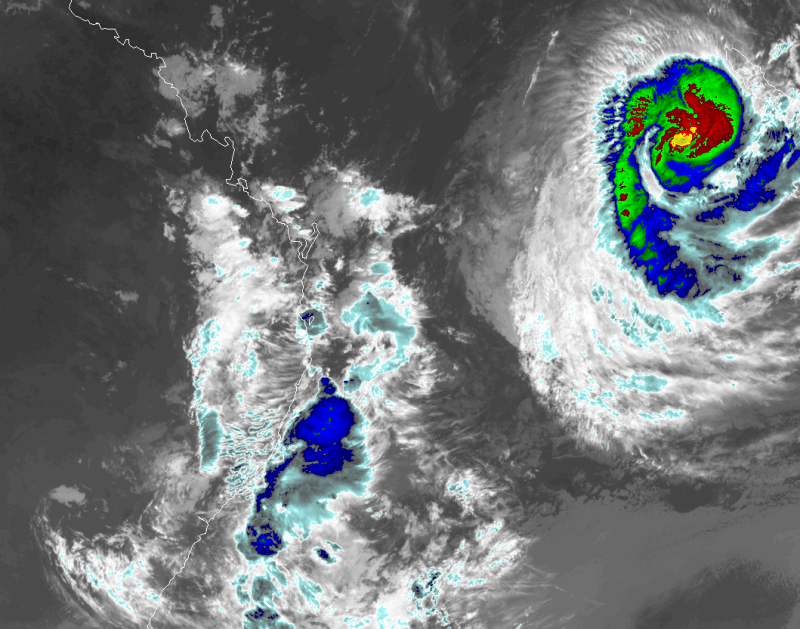 Satellite images show tropical cyclone Uesi heading southwest toward Australia's east coast. Source: RAMMB