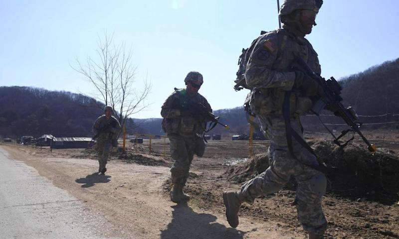 US soldiers carry out a drill at a military training field in Paju, South Korea on 7 March 2017.