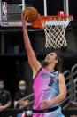 Miami Heat forward Kelly Olynyk (9) goes for a layup against the Toronto Raptors during the second half of an NBA basketball game Wednesday, Jan. 20, 2021, in Tampa, Fla. (AP Photo/Chris O'Meara)