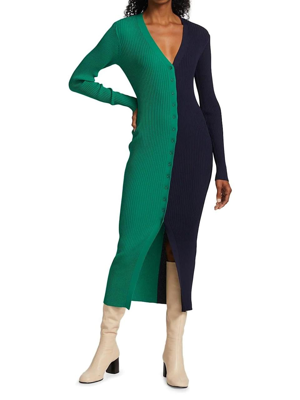 <p>This <span>Staud Shoko Colorblock Sweater Dress</span> ($165) is so cool. It comes in 13 different colorways, and we also like the fact that you could completely unbutton it and wear it as a cardigan.</p>