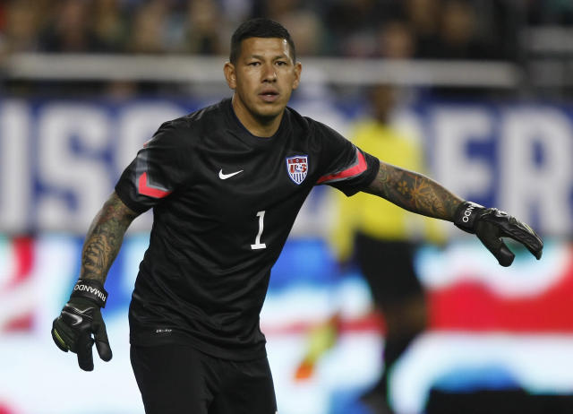 U.S. goal keeper Nick Rimando (1) during the second half of an international friendly soccer match against Mexico Wednesday, April 2, 2014, in Glendale, Ariz. The game ended in a 2-2 draw. (AP Photo/Rock Scuteri)
