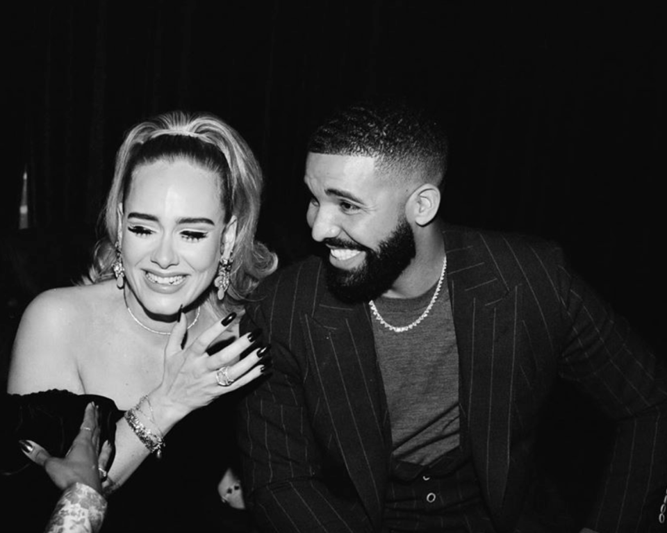 Adele helped Drake celebrate his birthday — and the internet is obsessed with how great she looks. (Screenshot: Drake via Instagram)