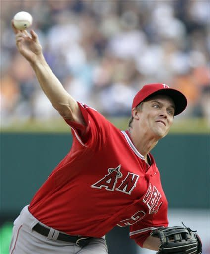 Los Angeles Angels starter Zack Greinke pitches against the Detroit Tigers in the first inning of a baseball game Friday, Aug. 24, 2012, in Detroit. (AP Photo/Duane Burleson)