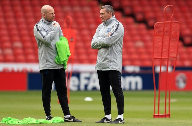 Lee Carsley (left) is currently working with the England Under-21s. (Mike Egerton/PA)