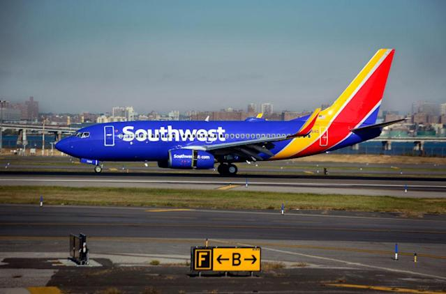 A Southwest Airlines passenger jet (Boeing 737) lands at LaGuardia Airport in New York, New York. (Photo by Robert Alexander/Getty Images)