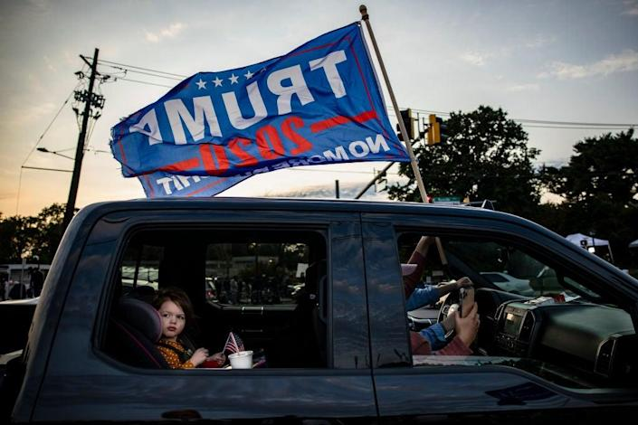 Trucks and cars with Trump flags have abounded on US streets and highways this election season. (Getty Images)